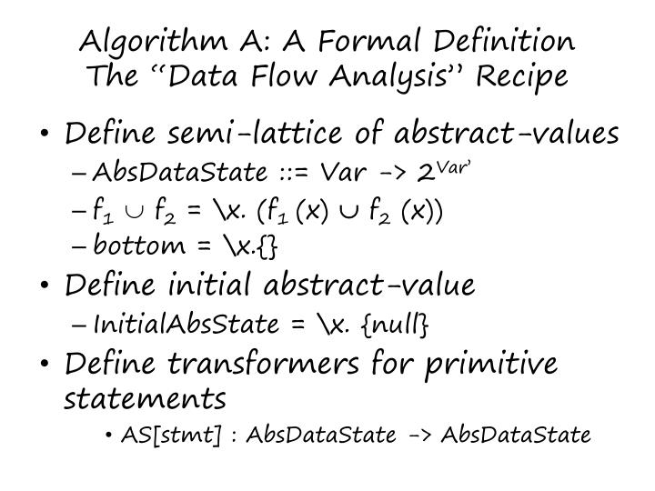 Algorithm A: A Formal Definition