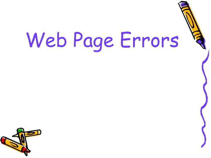 Web Page Errors