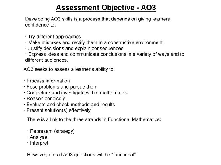 Assessment Objective - AO3