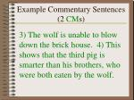 example commentary sentences 2 cm s
