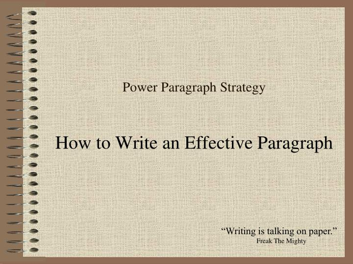 Power paragraph strategy