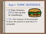 step 1 topic sentence