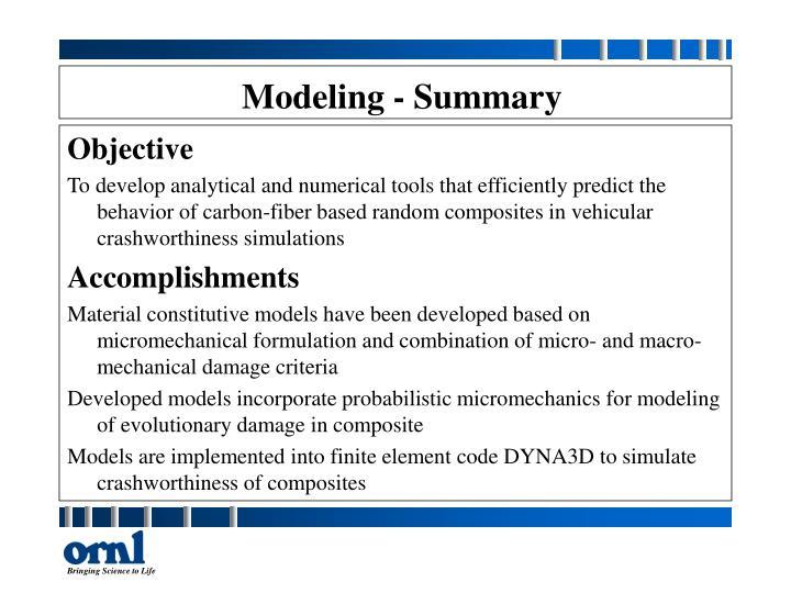Modeling - Summary