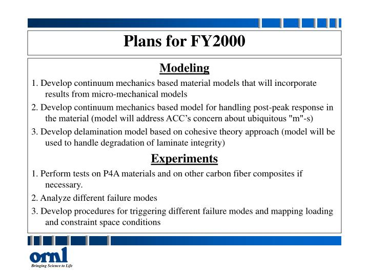 Plans for FY2000