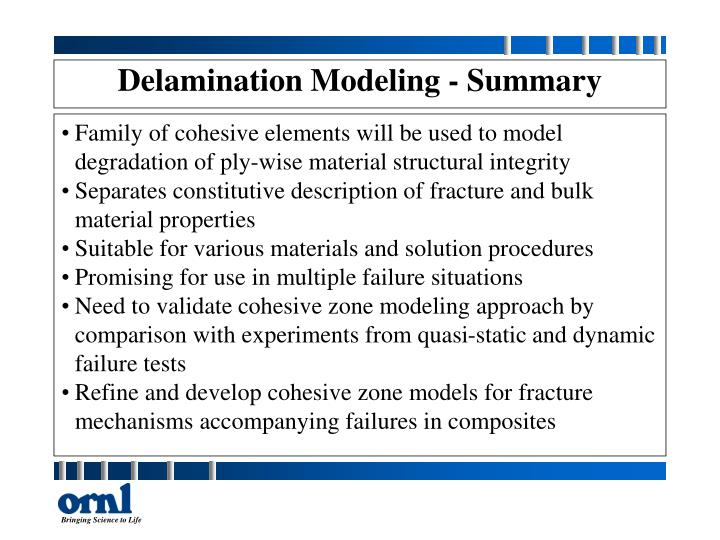 Delamination Modeling - Summary