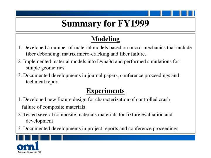 Summary for fy1999