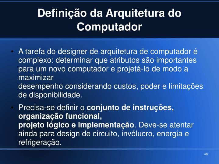Definição da Arquitetura do Computador