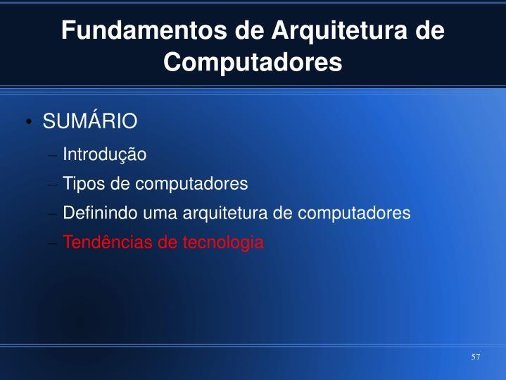 Fundamentos de Arquitetura de Computadores