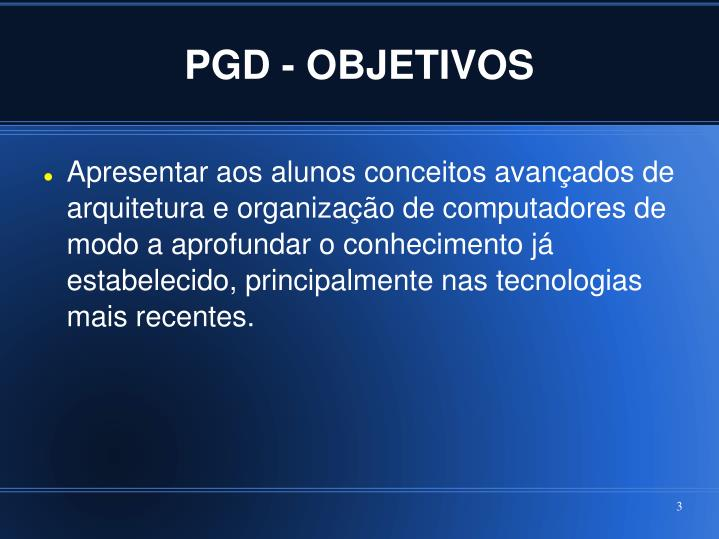 PGD - OBJETIVOS