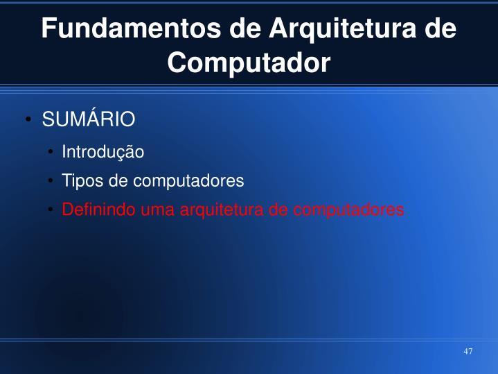 Fundamentos de Arquitetura de Computador