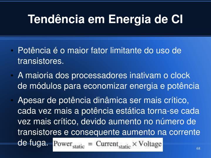 Tendência em Energia de CI