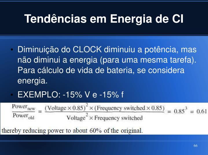 Tendências em Energia de CI