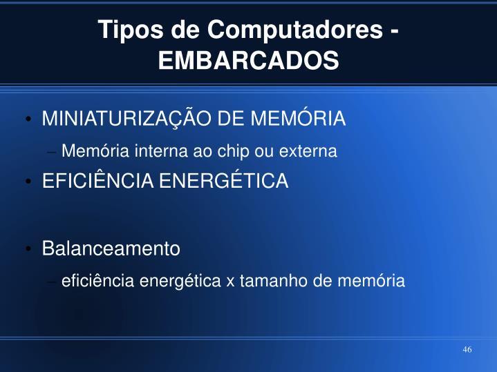 Tipos de Computadores - EMBARCADOS