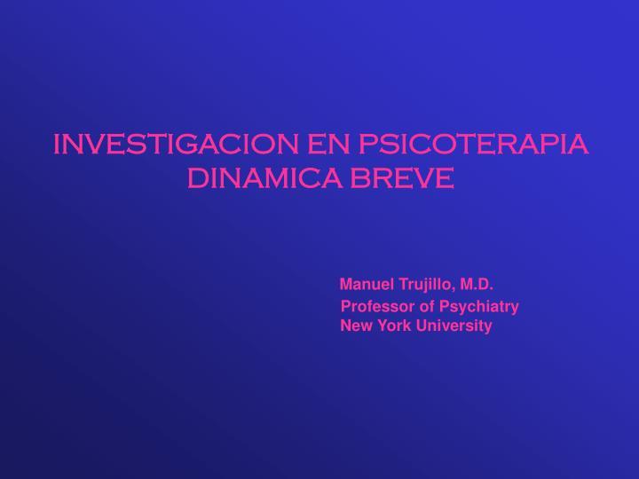 INVESTIGACION EN PSICOTERAPIA