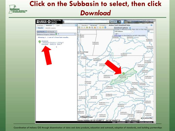 Click on the Subbasin to select, then click