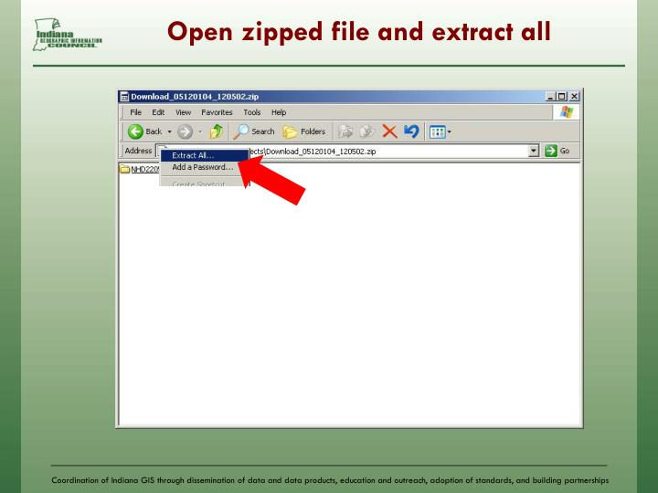 Open zipped file and extract all