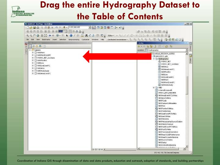 Drag the entire Hydrography Dataset to the Table of Contents
