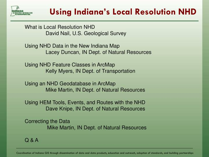 Using indiana s local resolution nhd