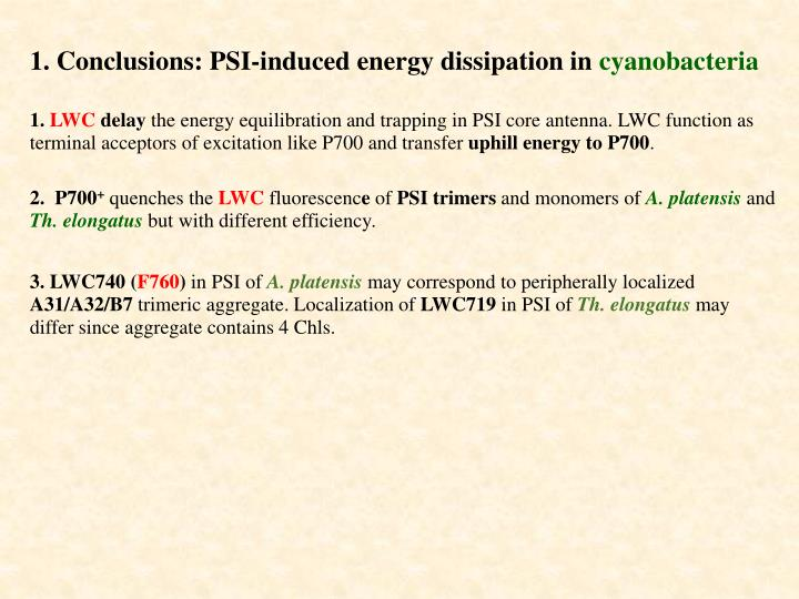 1. Conclusions: PSI-induced energy dissipation in