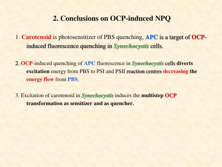 2. Conclusions on OCP-induced NPQ