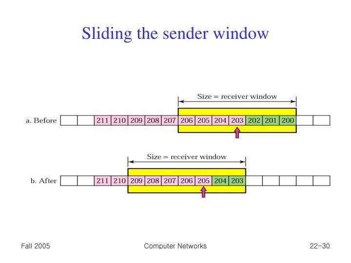 Sliding the sender window
