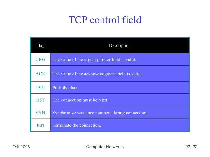 TCP control field