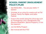 school parent involvement policy plan