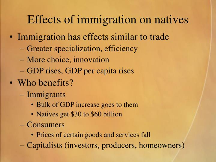 Effects of immigration on natives