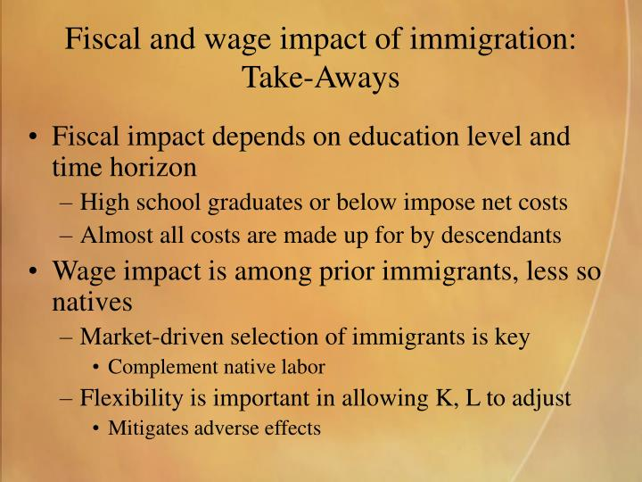 Fiscal and wage impact of immigration:
