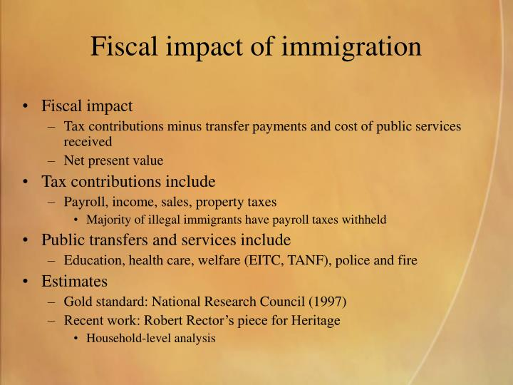 Fiscal impact of immigration