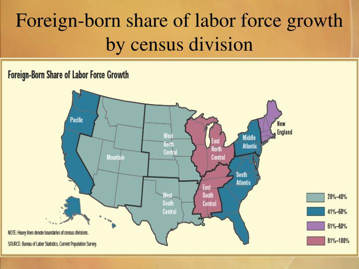 Foreign-born share of labor force growth by census division
