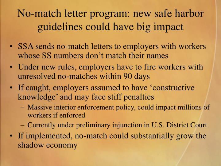 No-match letter program: new safe harbor guidelines could have big impact