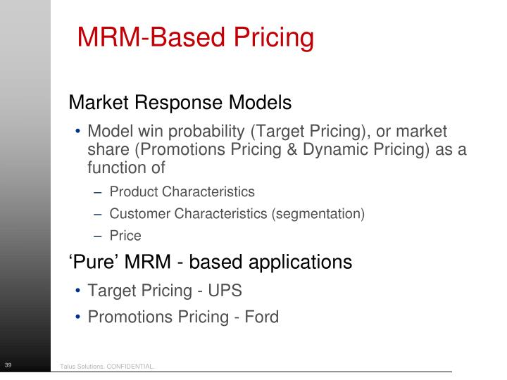 MRM-Based Pricing