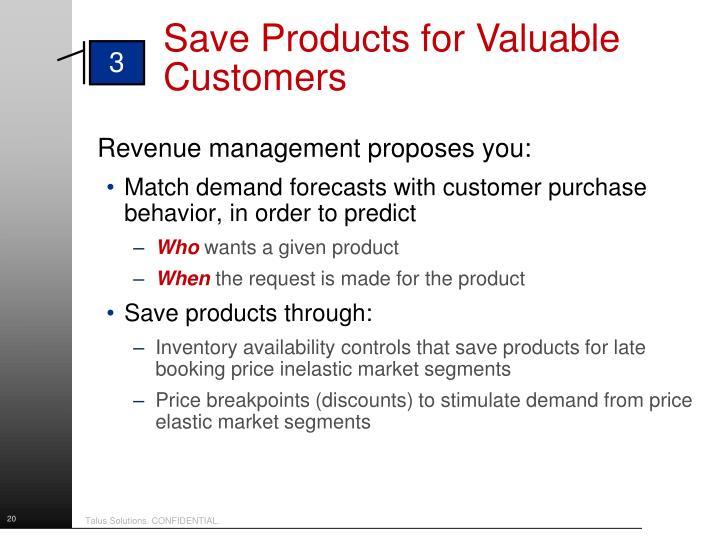 Revenue management proposes you: