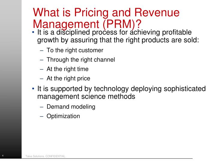 What is Pricing and Revenue Management (PRM)?
