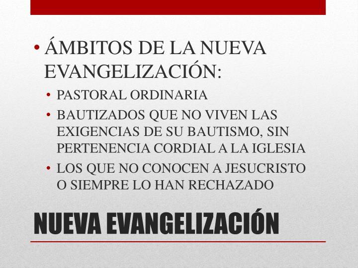 ÁMBITOS DE LA NUEVA EVANGELIZACIÓN:
