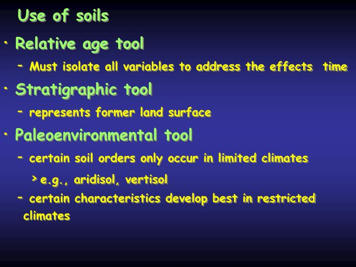 Use of soils