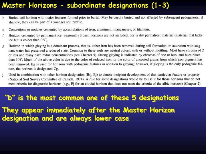 Master Horizons - subordinate designations (1-3)