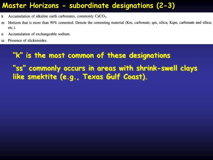 Master Horizons - subordinate designations (2-3)