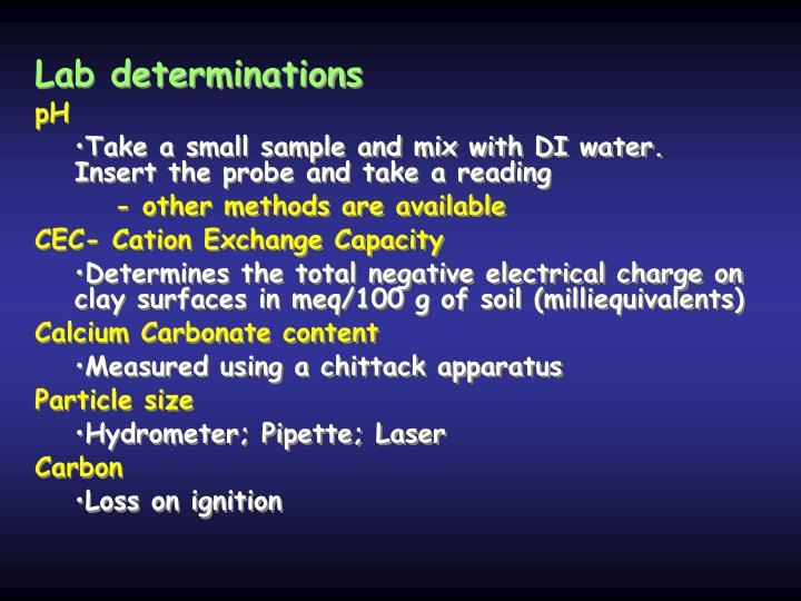 Lab determinations