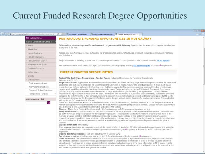 Current Funded Research Degree Opportunities
