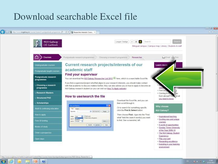 Download searchable Excel file