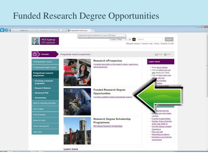 Funded Research Degree Opportunities