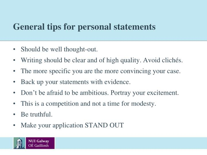 General tips for personal statements
