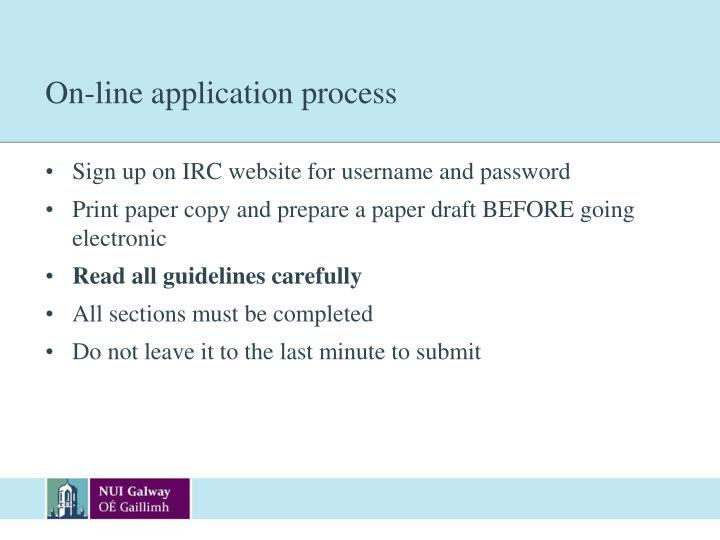 On-line application process