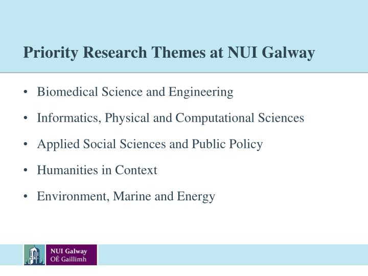 Priority Research Themes at NUI Galway