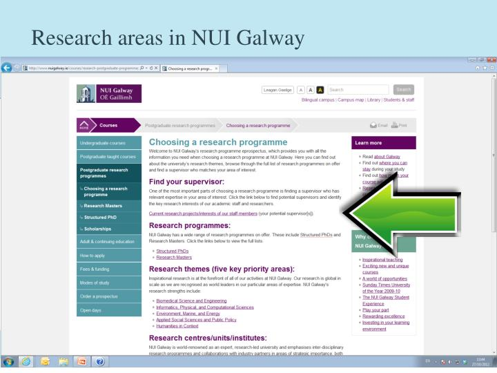 Research areas in NUI Galway