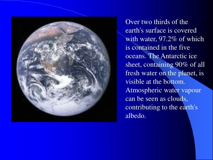 Over two thirds of the earth's surface is covered with water, 97.2% of which is contained in the five oceans. The Antarctic ice sheet, containing 90% of all fresh water on the planet, is visible at the bottom. Atmospheric water vapour can be seen as clouds, contributing to the earth's albedo.