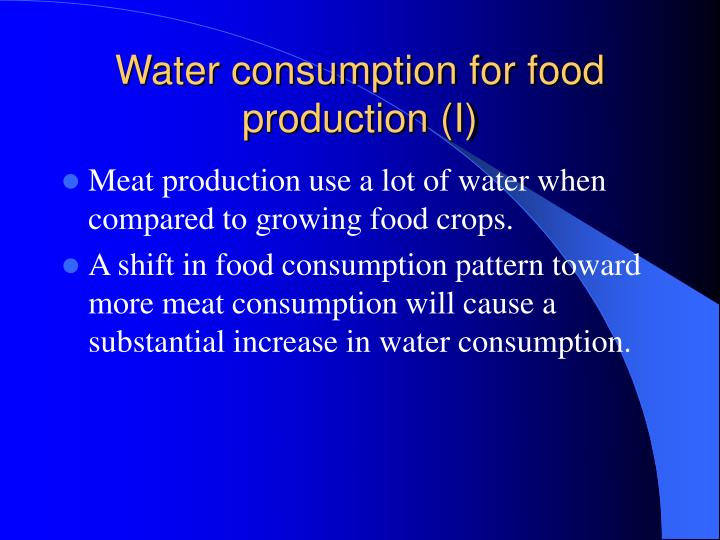 Water consumption for food production (I)