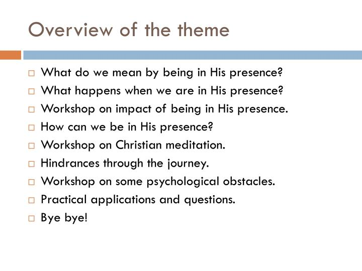 Overview of the theme